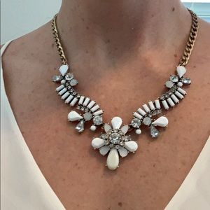 Loft White pearlescent, crystal & gold necklace